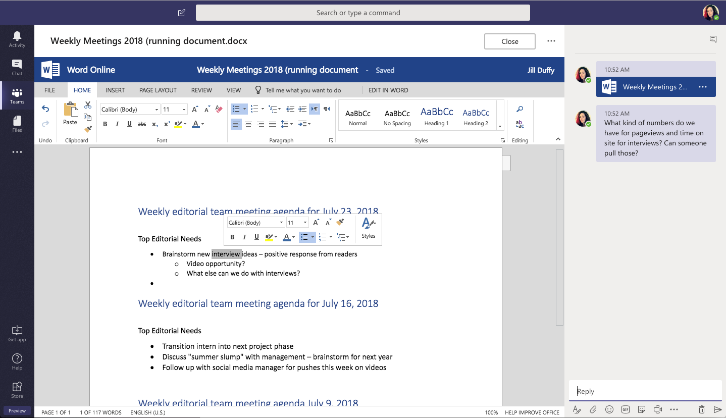 Microsoft Teams lets you edit Microsoft Office documents from the Teams interface