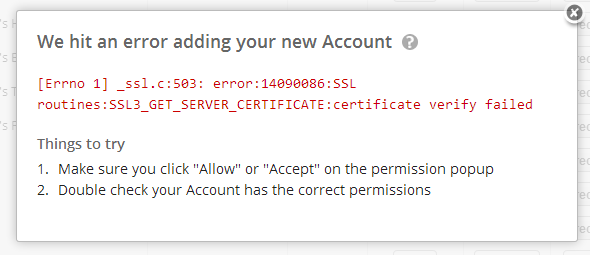 SSL Error on Zapier