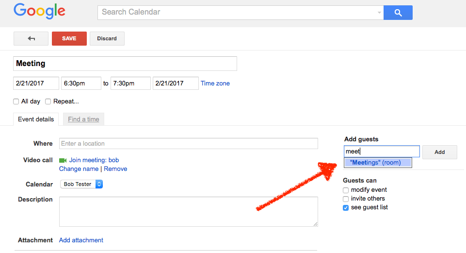 Add resource to Google Calendar event