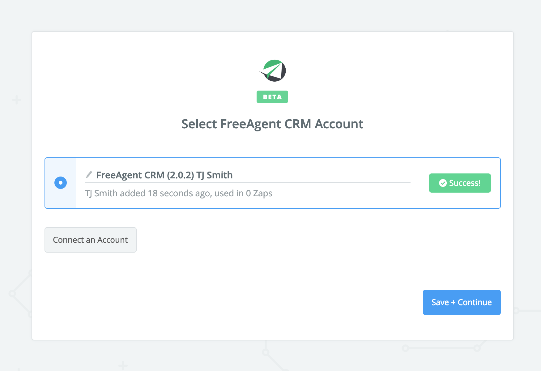 FreeAgent CRM connection successfull