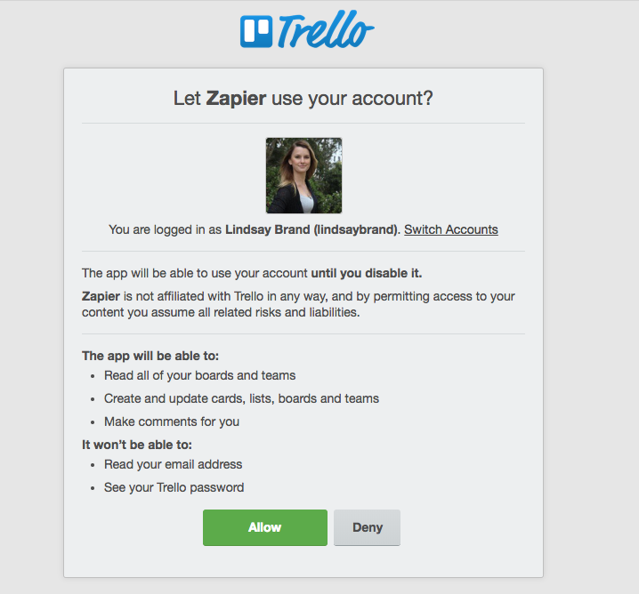 Allow Zapier to access your Trello data