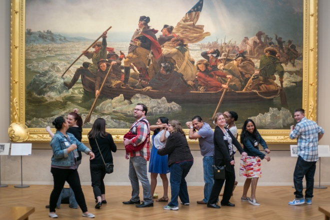 One of Museum Hack's groups crossing the Delaware at the Metropolitan Museum of Art.