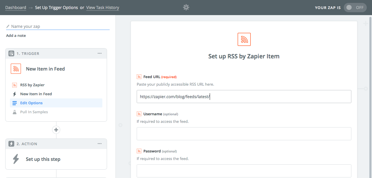 Add RSS feed to Zapier