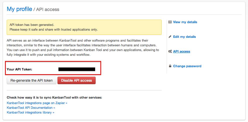 Copy your KanbanTool API Key