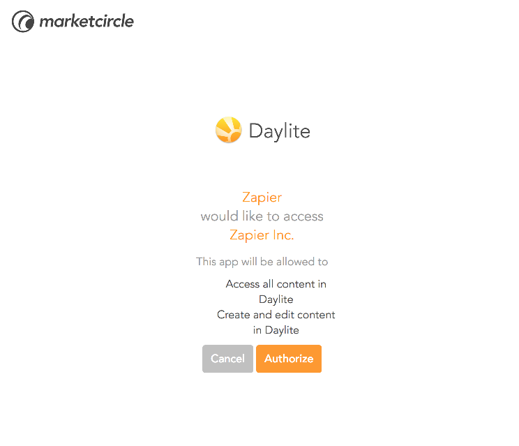 Authorize Daylite on Zapier