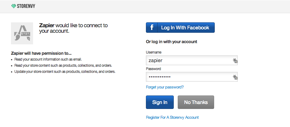 Log in to authorize your Storenvy account