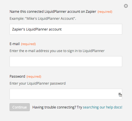 Name the LiquidPlanner account inside Zapier