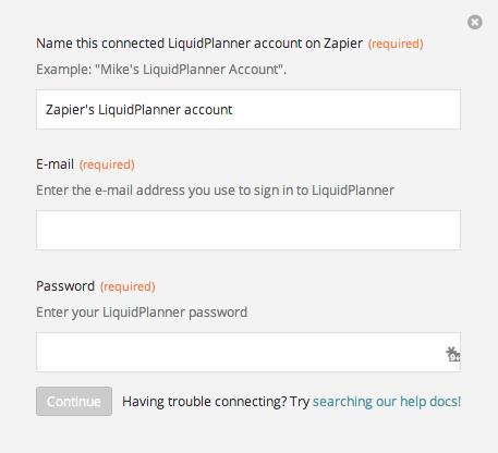 Name the LiquidPlanner account inside Zapier