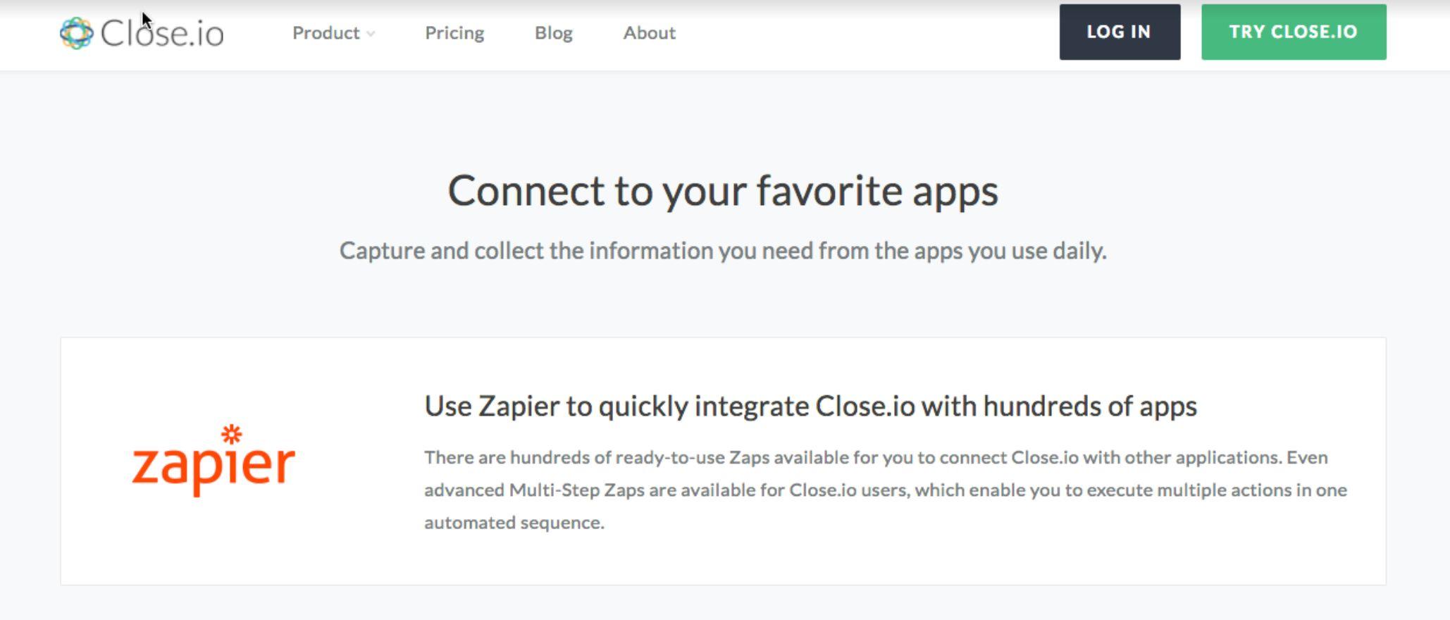 Close integration page featuring Zapier