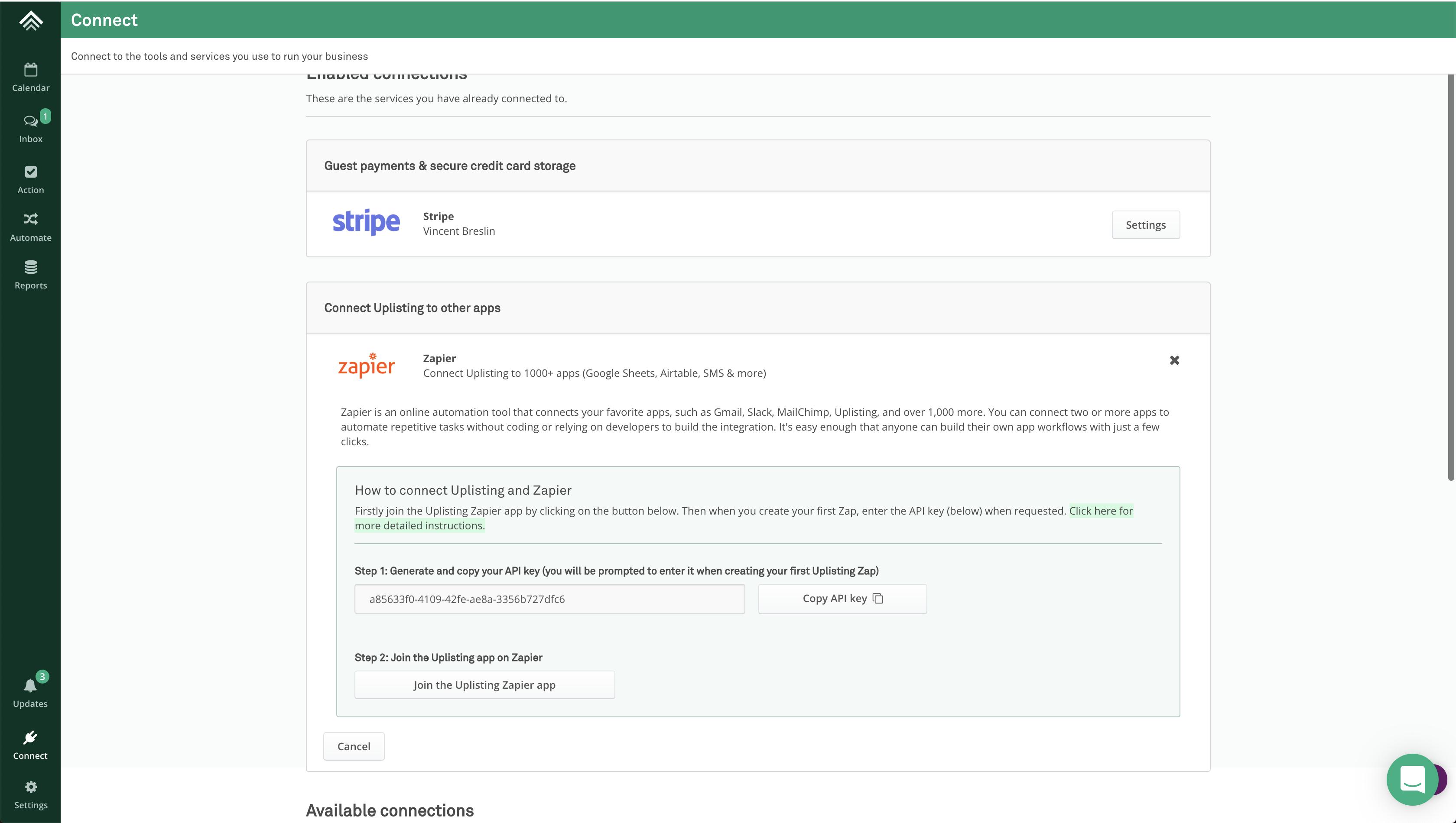 Uplisting API Key in account