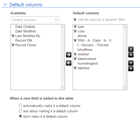 screenshot of default columns
