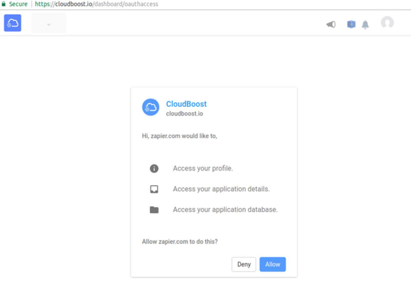 Authorize CloudBoost on Zapier