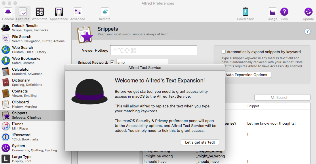 Alfred expand snippets