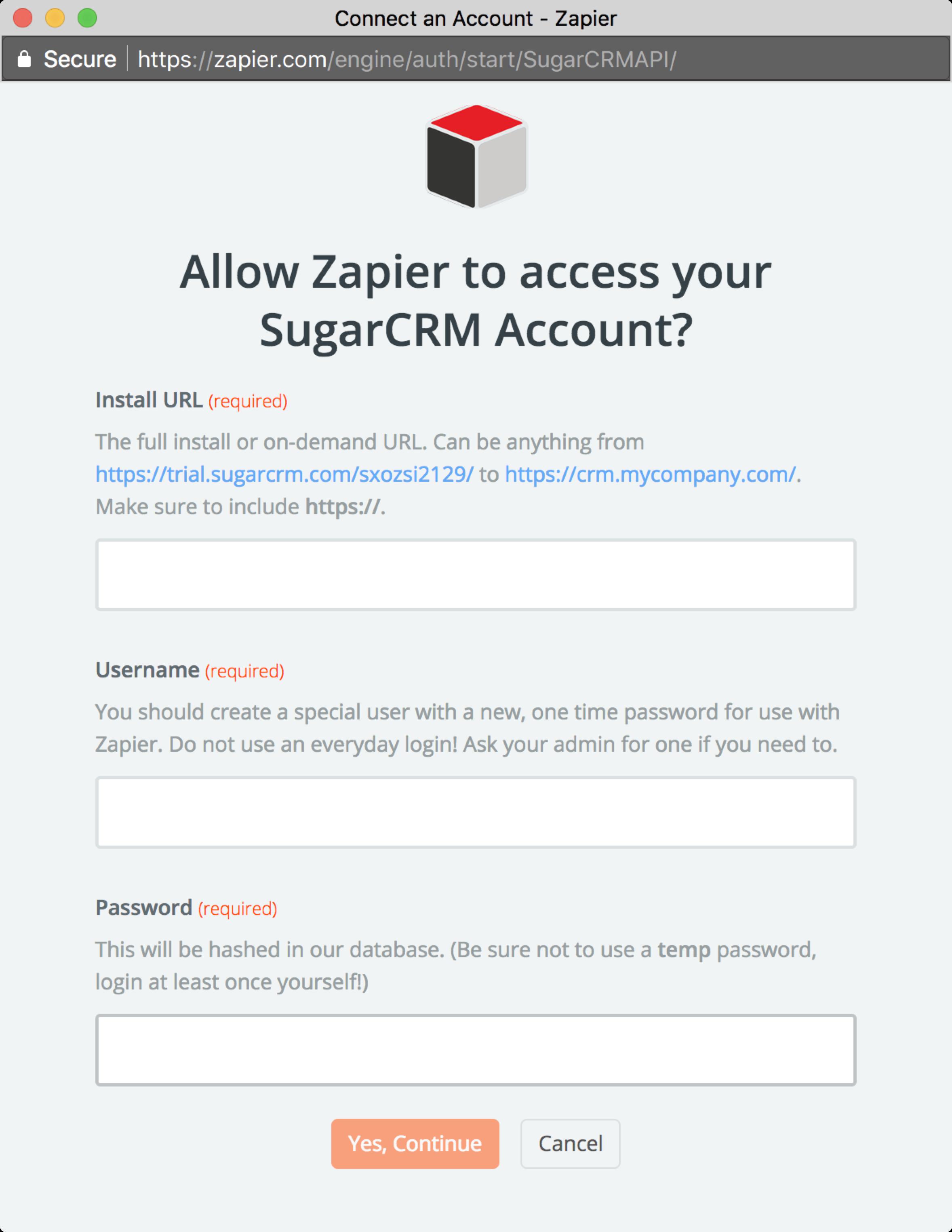 SugarCRM 6 2-5 - Integration Help & Support | Zapier