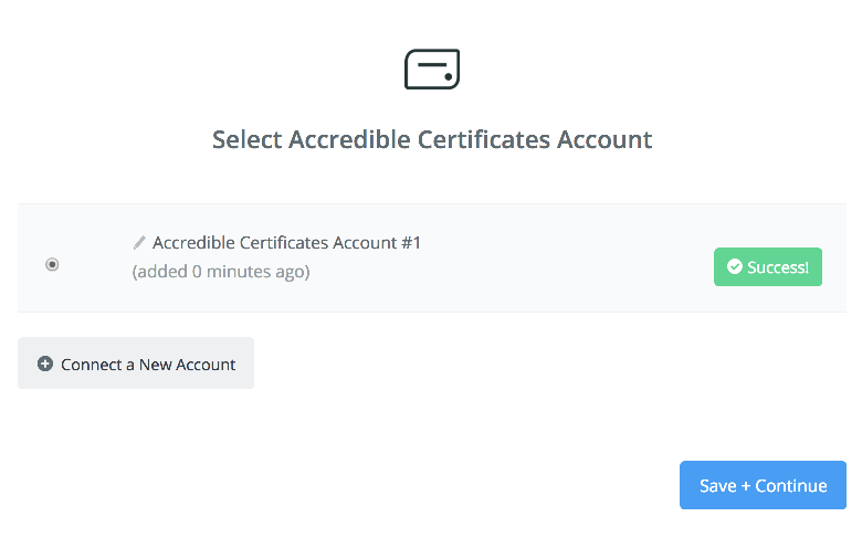 Accredible Certificates connection successfull