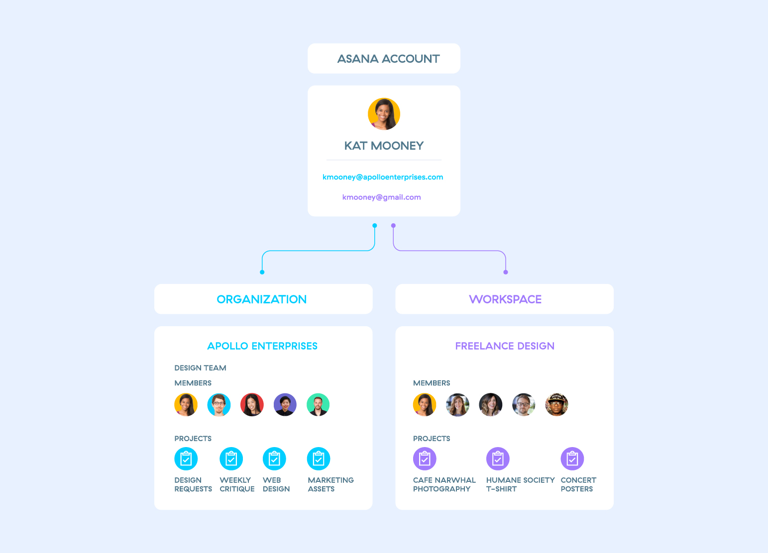 Asana workspace and organization layout