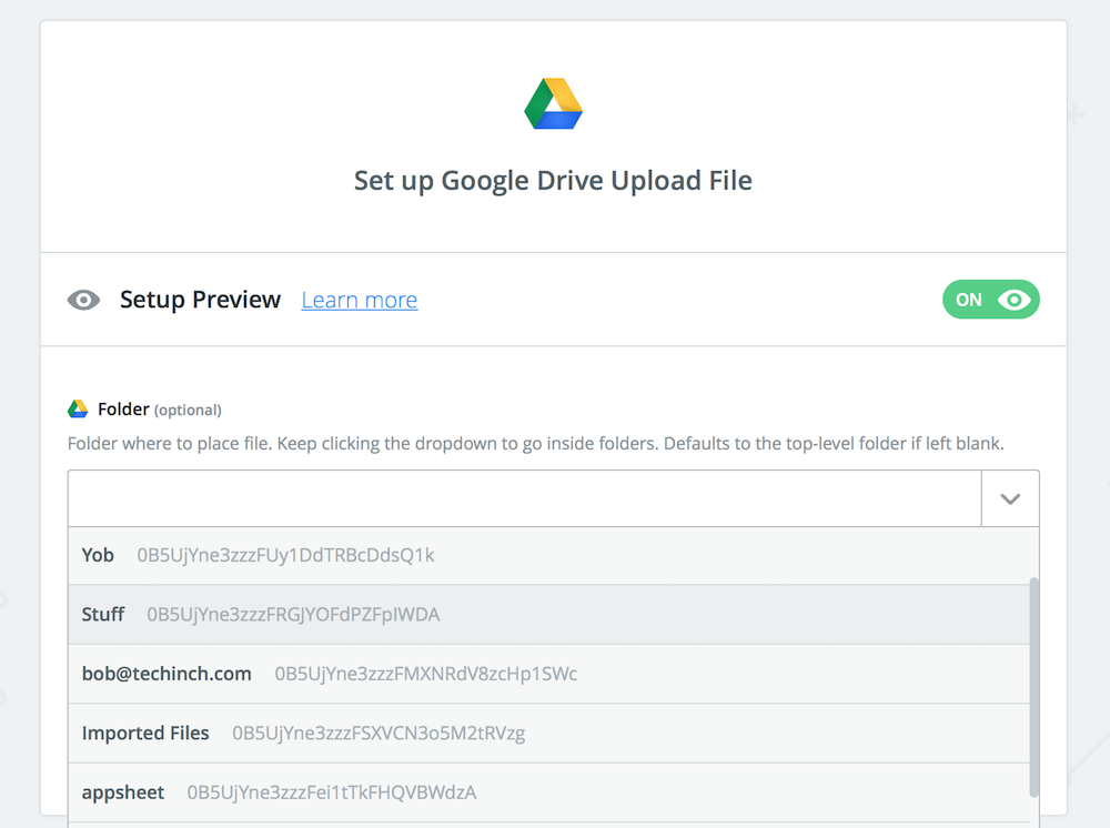 Pick Google Drive folder in Zapier
