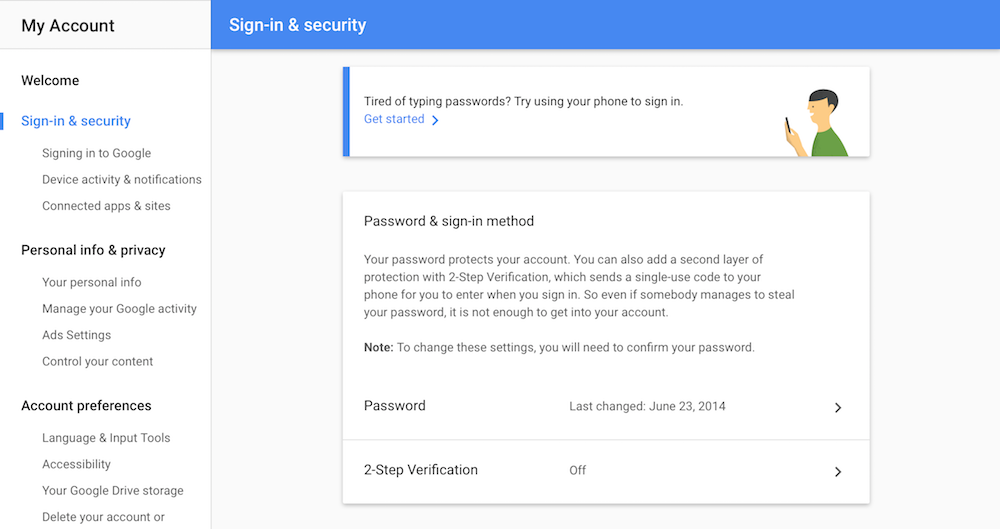 Google two-factor authentication settings