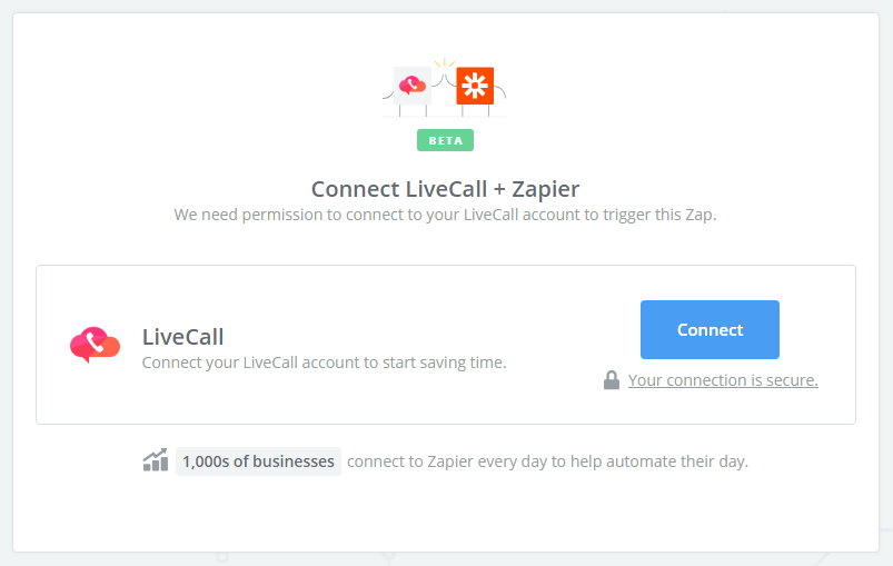 Click to connect LiveCall