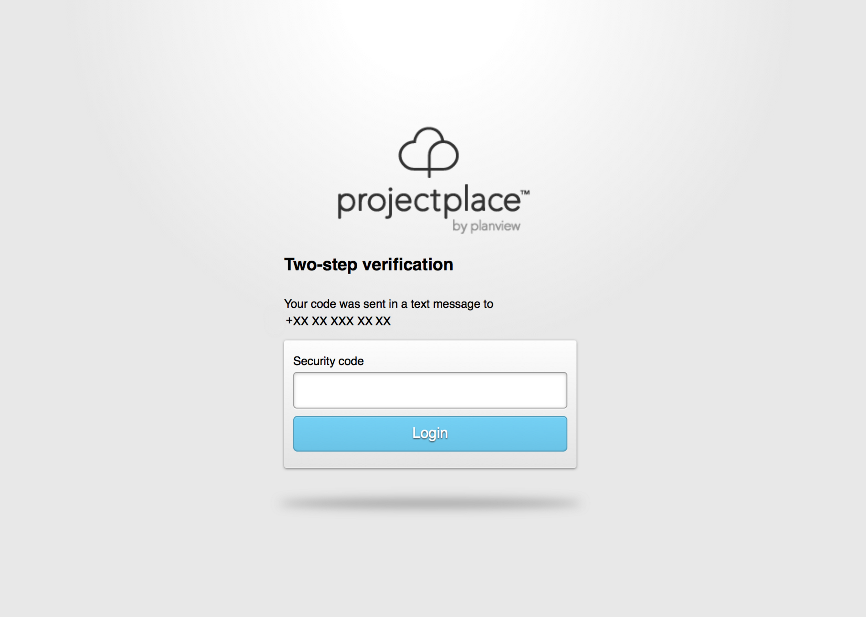 Two-step verification for Projectplace
