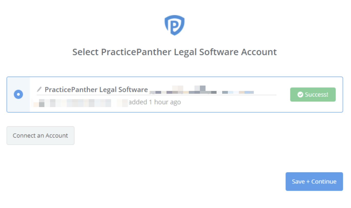 PracticePanther Legal Software connection successfull