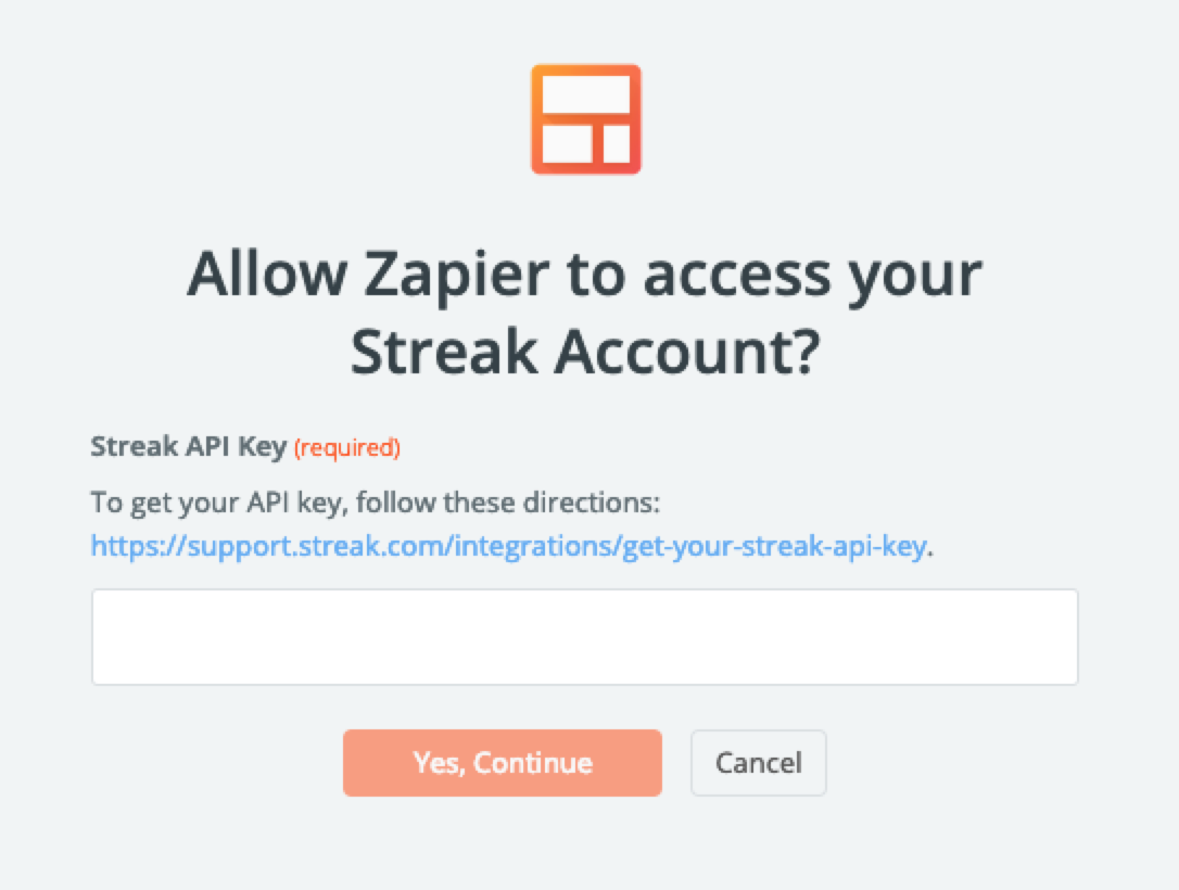 Streak API key