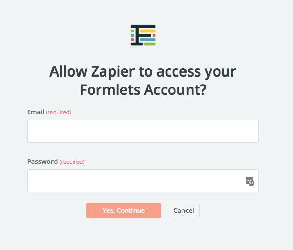 Formlets username and password