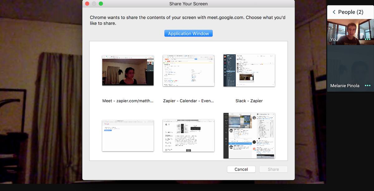 Hangouts Meet share screen