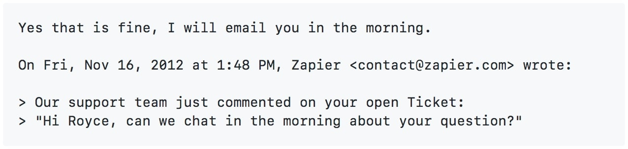 Zapier Email Reply Parser