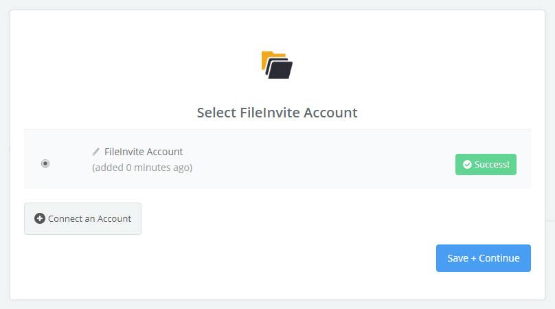 FileInvite connection successfull