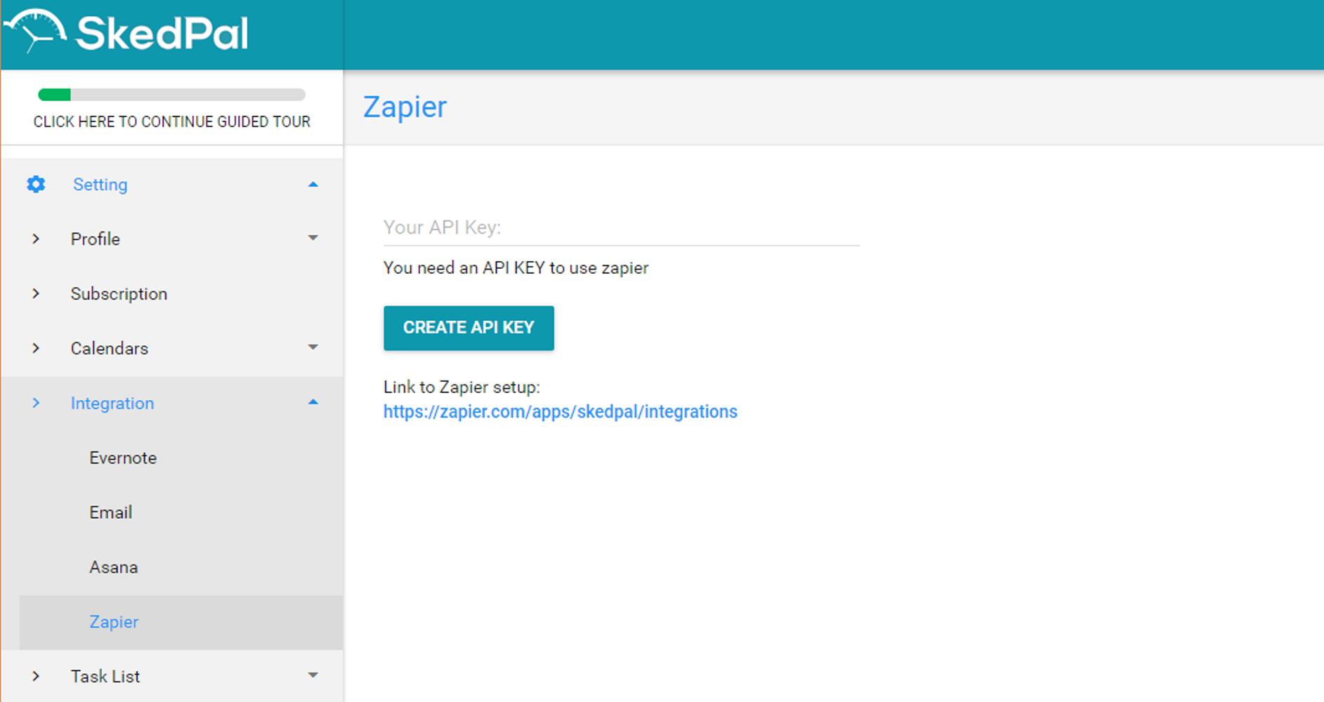 SkedPal API Key in account