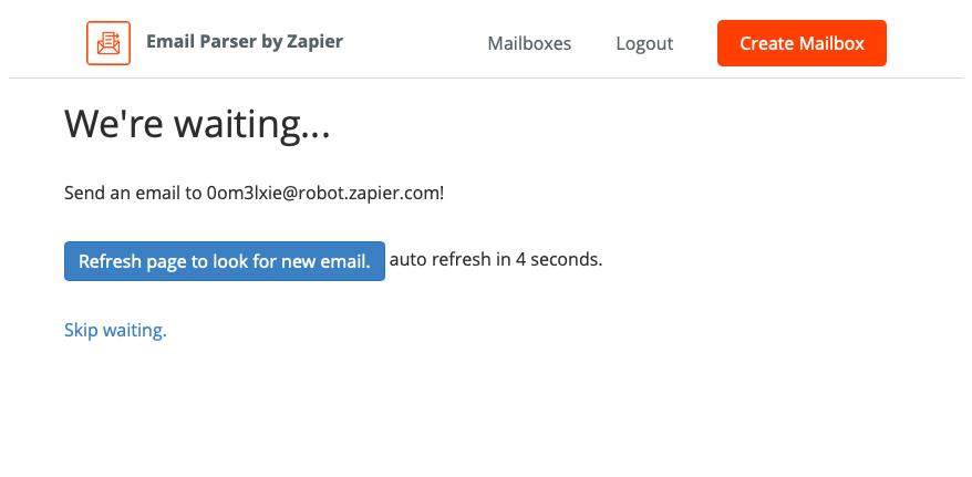Zapier Create Email Parser