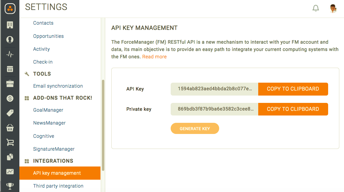 ForceManager API Key in account
