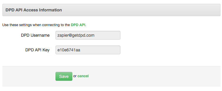 DPD API Username and Password
