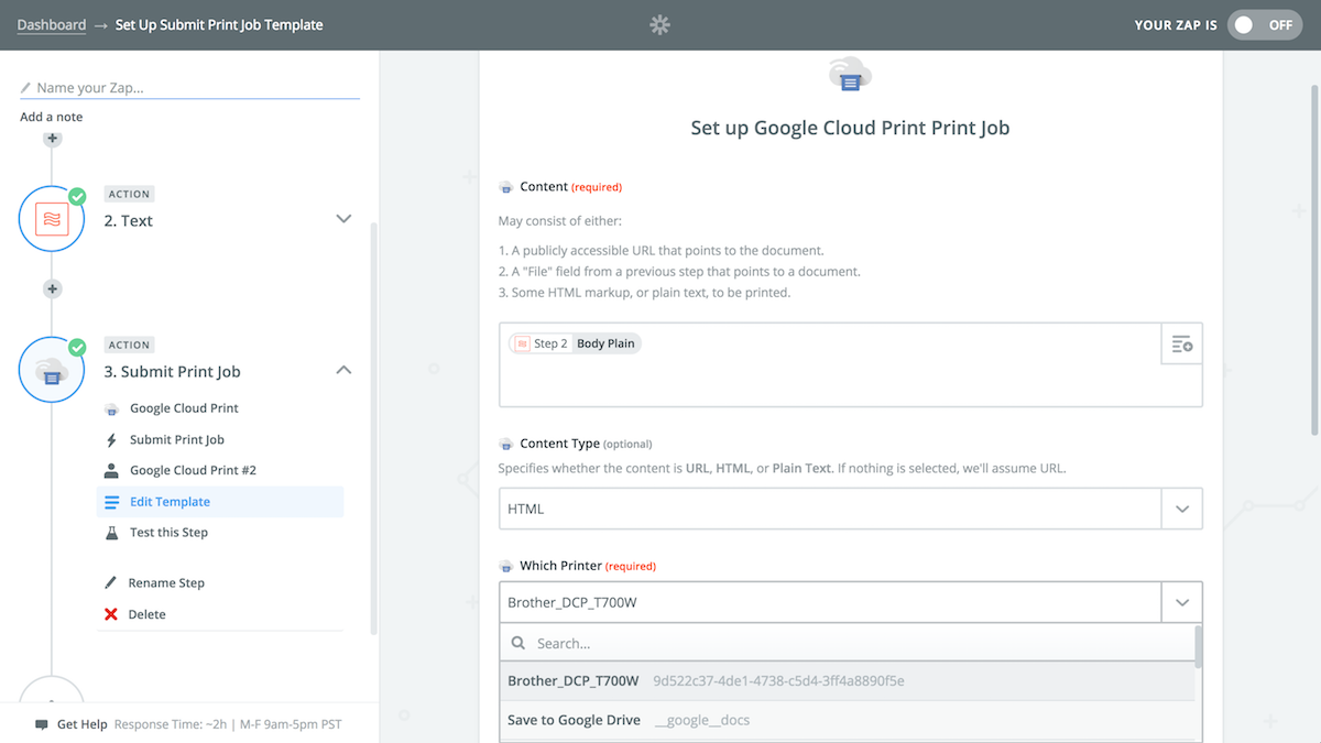 Zapier Google Cloud Print