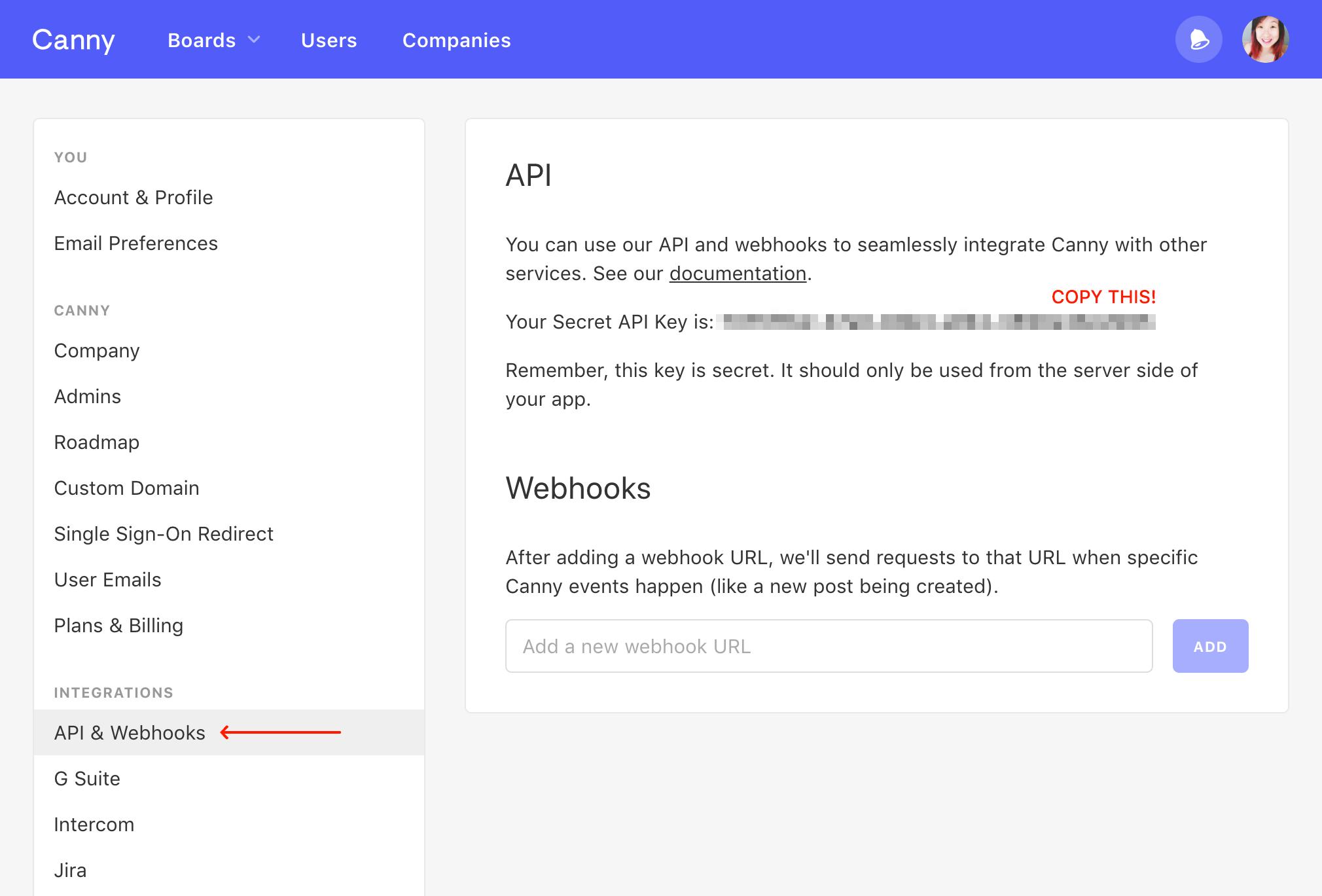 Canny API Key in account