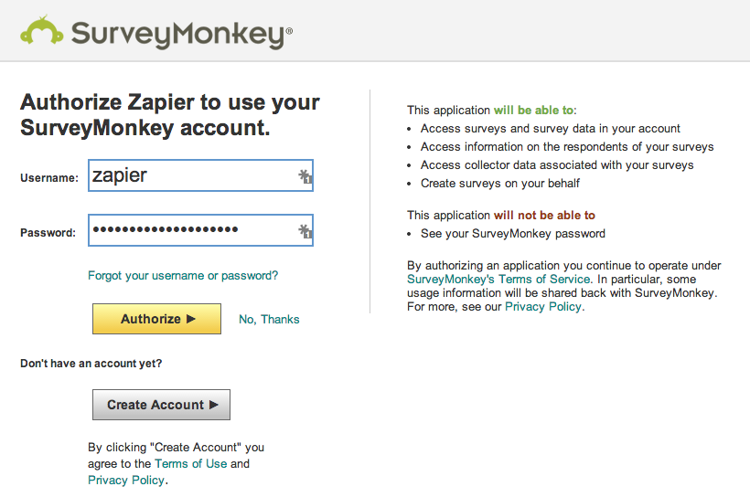 Log in to authorize your SurveyMonkey account