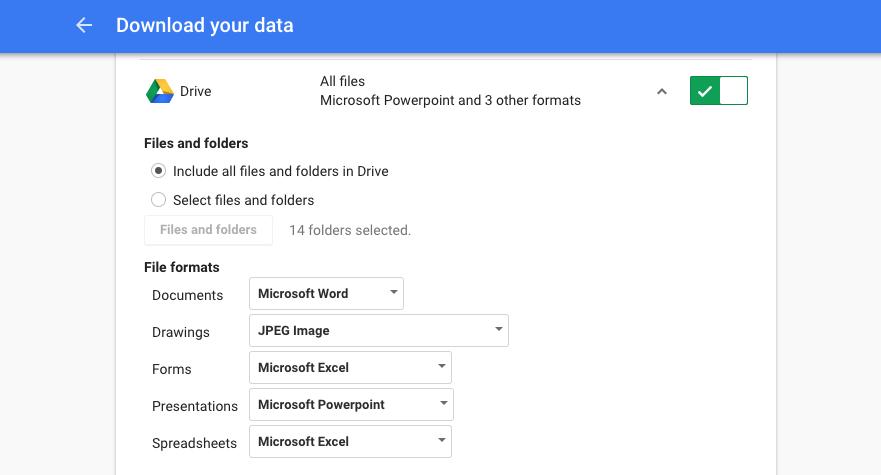 Google Docs Export Settings