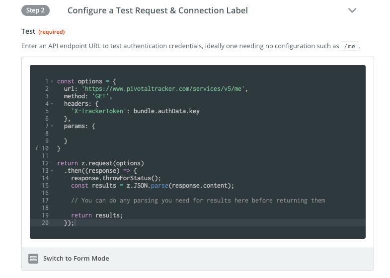 Zapier code mode API Key auth