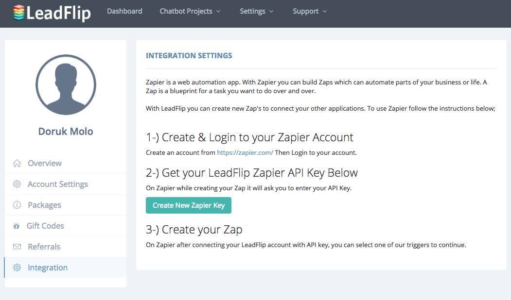 LeadFlip API Key in account