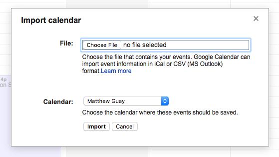 Import Google Calendars