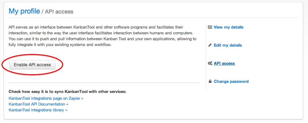 Enable your KanbanTool API Key