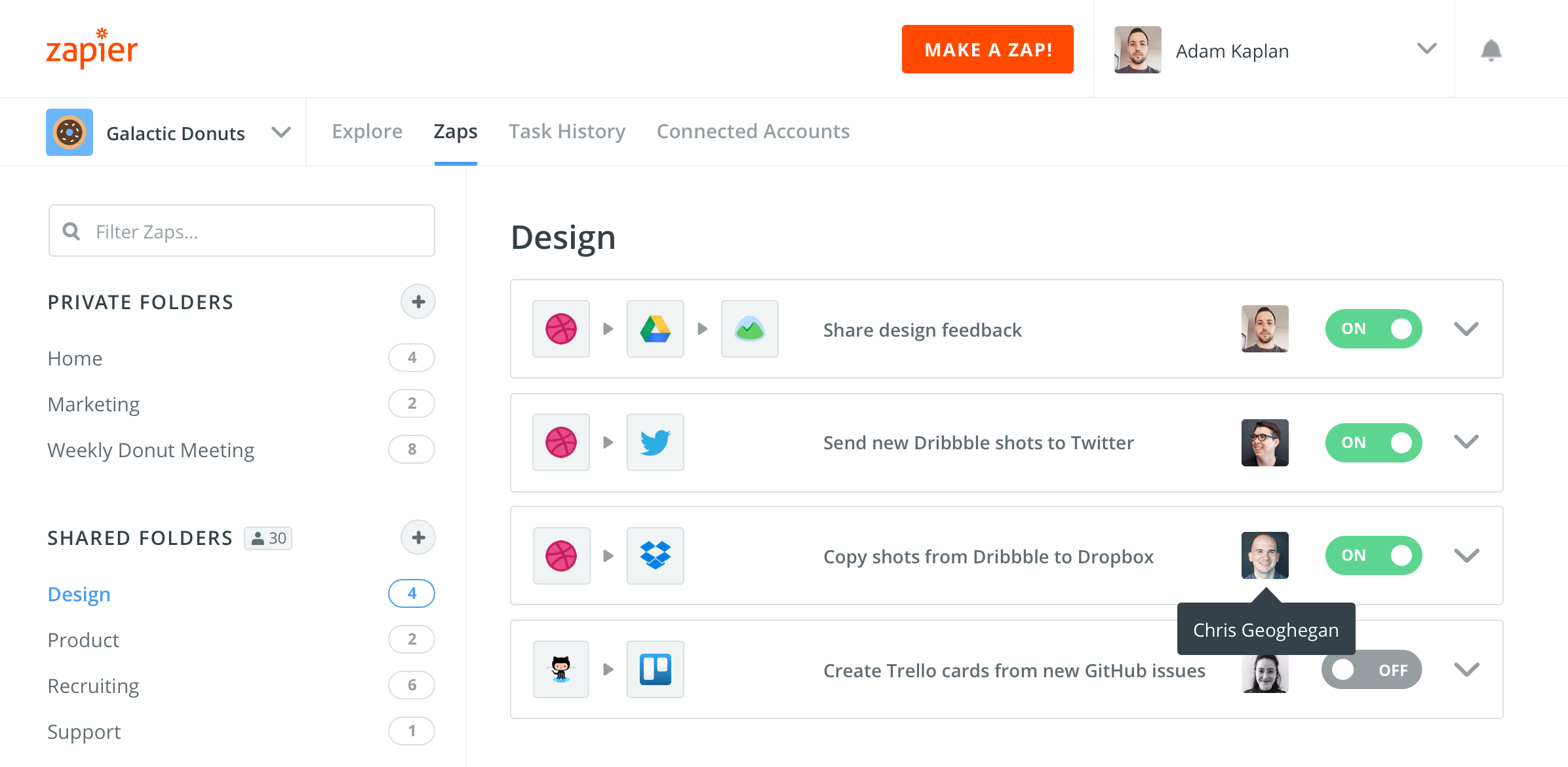When looking at your Zaps, the profile photo of the owner of the Zap shows up.