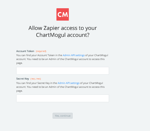 ChartMogul account authentication