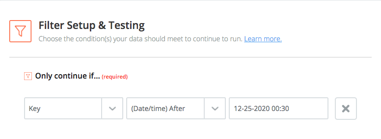 "shows a filter with the setting ""Only continue if field after 12-25-2020 00:30"""
