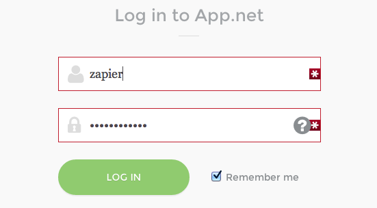 Log into your App.net account