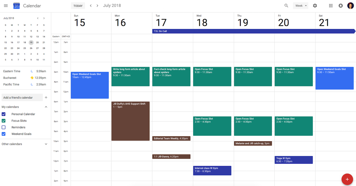 Google Calendar with focus slots