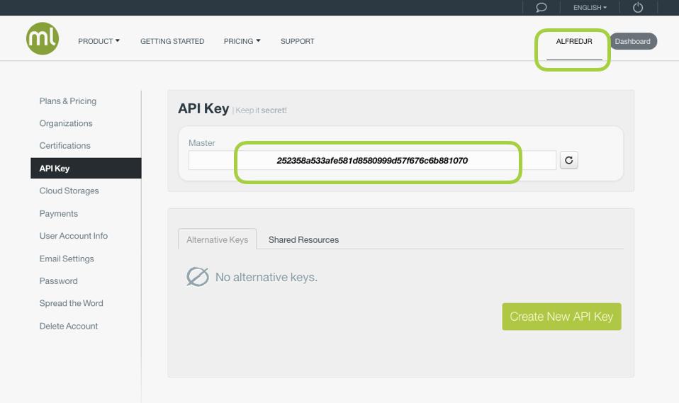 BigML API Key in account