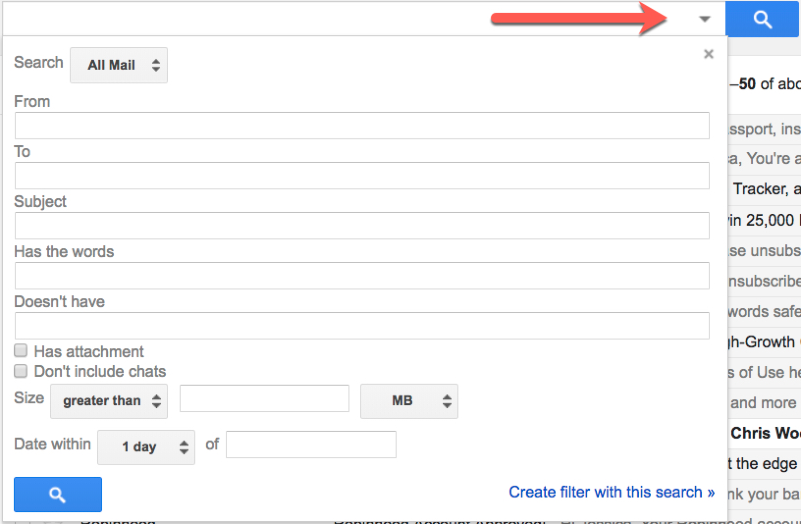 Create Gmail filter