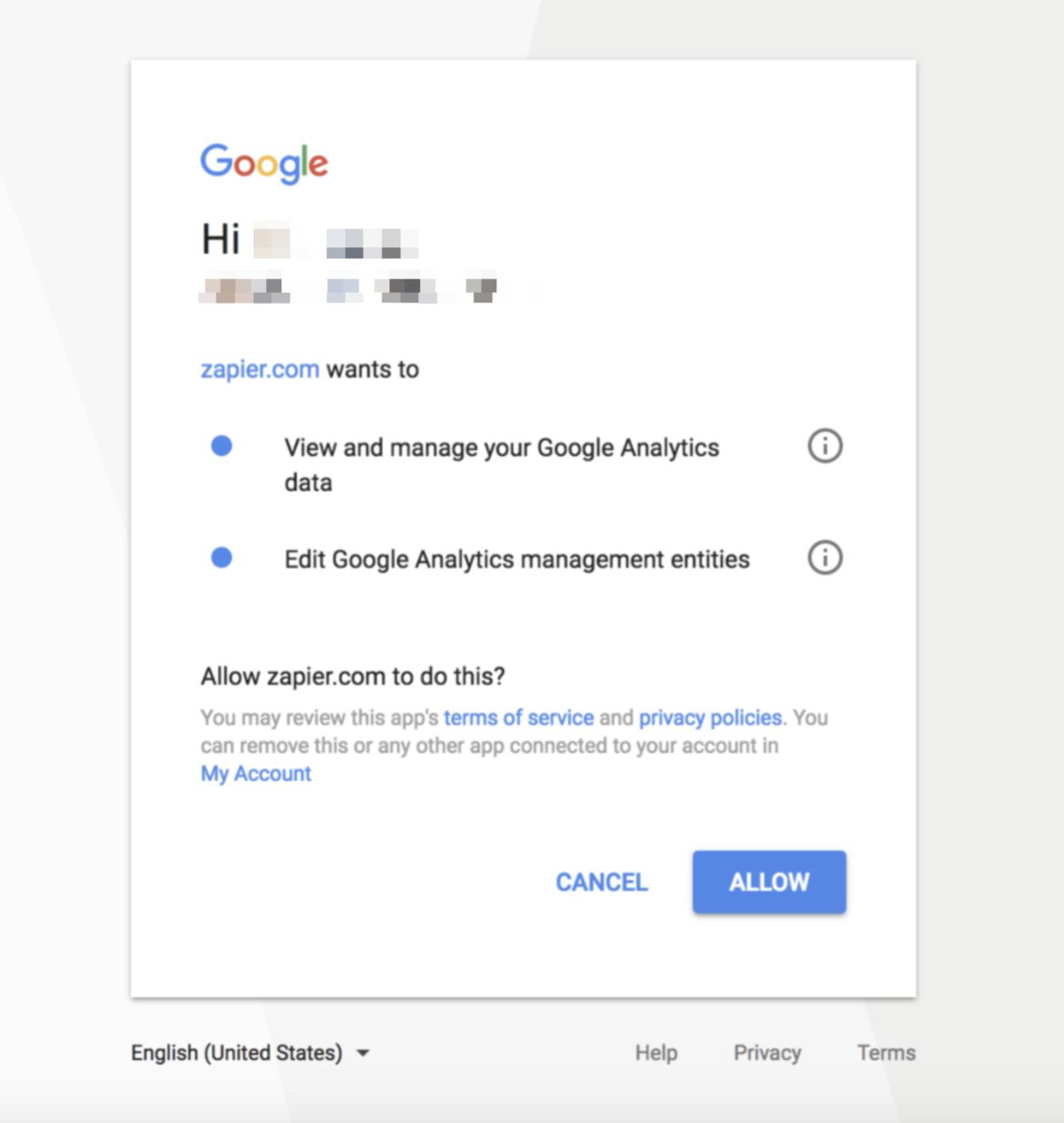 Authorize Google Analytics on Zapier